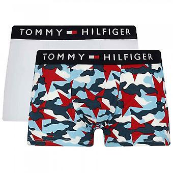 Tommy Hilfiger Boys 2 Pack Original Algodón Baúl Bóxer, Tango Rojo / Azul Halógeno, 14-16 Años