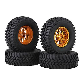 4xRubber 100mm Dia Tire&Golden Alloy Y-Shape Wheel Rim for RC1:10 Rock Crawler
