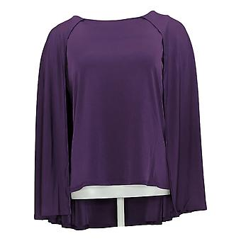 IMAN Global Chic Women's Top Jersey Stretch Knit Caped Shell Purple 722613