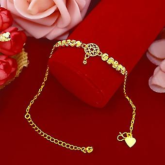 Simple Fashion 18k Gold Anklet With Watermelon Bead Pendant Chain