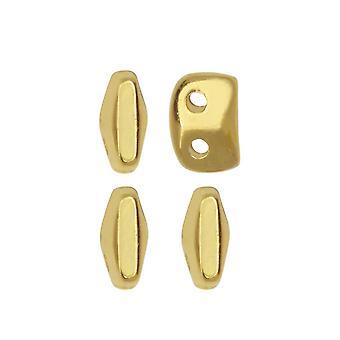 Cymbal pärla ersättning för SuperDuo pärlor, Vitali, 2-hål 5x2mm, 12 stycken, 24K guldpläterad