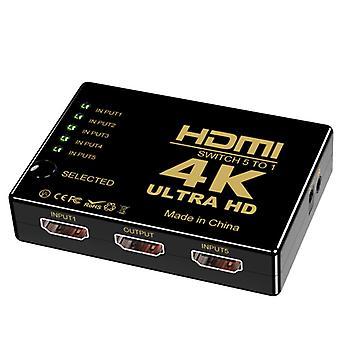 HDMI-kytkin 5 in 1 ulos, hdmi HD -videokytkin kaukosäätimellä, tuki 4K30Hz