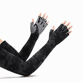 Camouflage sunscreen oversleeves men's quick-drying riding non-slip half finger arm guard ice silk gloves