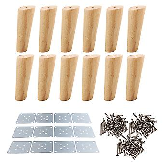 12 Pieces 15cm H Wood Oblique Tapered Furniture Feets Tea Table Legs