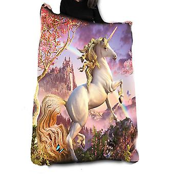 AWESOME UNICORN Fleece Blanket / Throw / Tapestry  by DAVID PENFOUND