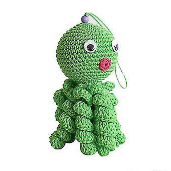 Vihreä pää luova villa nukkecrocheted mustekala x4708