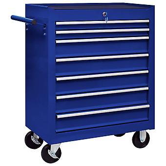 vidaXL werkplaatswagen met 7 lades blauw