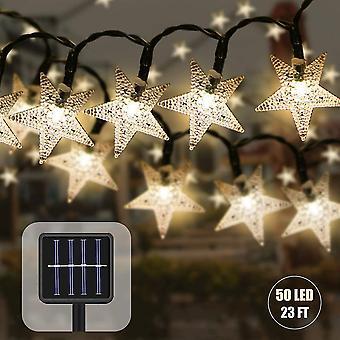 Outdoor solar string lights 7.5m waterproof star decorative christmas solar lamp(yellow) dt5938