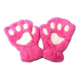 Plush Thicken Big Cat Claw Winter Warm Gloves