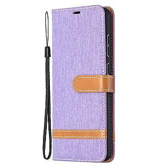Folio Flip Cover Leather Case For Samsung Galaxy A72 5g/4g Violet Jeans
