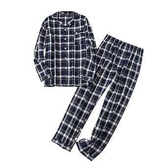 YANGFAN Herren Pyjama Set Baumwolle Langarm Nachtwäsche Button Down Tops und Hose Classic Plaid Set