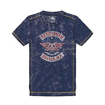 Aerosmith T Shirt Boston Pride Band Logo new Official Mens Navy Blue Snow Wash