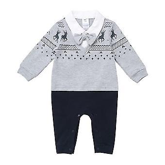 الرضع الأولاد جنتلمان ملابس البدلة الرسمية طويلة الأكمام مع القوس التعادل 3-6months