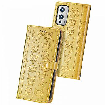 Case For Oneplus 9 Flip Wallet Embossed Cover Etui Housse Cat Dog Pattern - Yellow