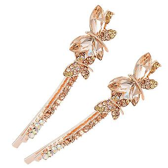 2PAIR  Sweet Crystal Butterfly Hairclip Fashion Head Hair Accessories Women Gift CHAMPAGNE COLOR