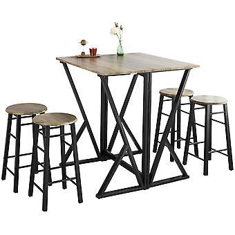 SoBuy Bar Set-Half-folded Bar Table y 4 taburetes, OGT24-N