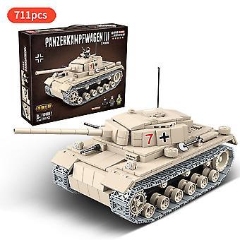 Toinen maailmansota Saksan Panzerkampfwagen III Raskas Tank Sotilaallinen WW2 Minifigs Sotilaat
