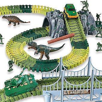 144ks Dinosaur World Race Car Track Set Hračka