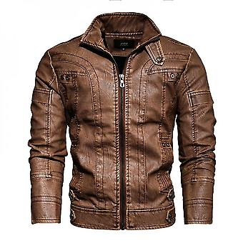 Leather Jacket Motorcycle Style Pu Leather Coat Stand Collar Warm