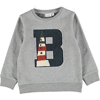 """Name-it Jongens Sweater Ohej """"Vuurtoren"""" Grey Melange"""