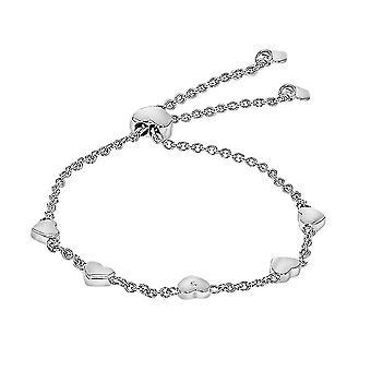 TJC weiß Diamant Herz Bolo Armband für Frauen Sterling Silber 7,5 ''