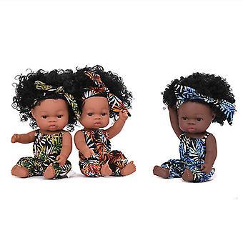 Mimigo Realistische Rebornbaby Puppen Schwarz Afroamerikaner Lebensechte BabyPuppen Weiche Vinyl Neugeborene Baby Puppen Für Baby Kinder Alter 3+ Weihnachtsgeschenke für Gi