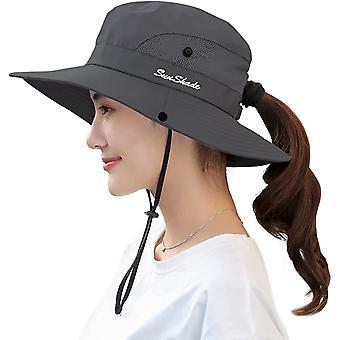 女性のポニーテールサンハットUV保護折りたたみ式メッシュワイドブリムビーチ釣り帽子