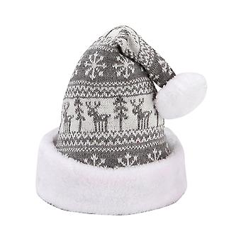 Swotgdoby Snowflake Fawn Knitted Woolen Christmas Hat For Adult