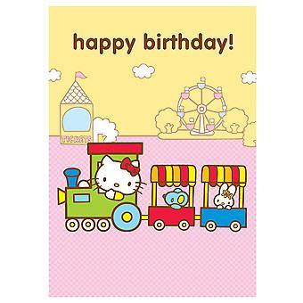 Hello Kitty Train Birthday Greetings Card