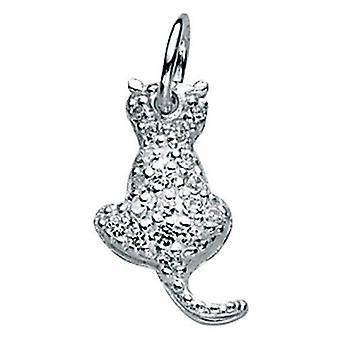 925 シルバー ジルコニア猫ネックレス