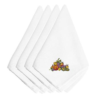 Thanksgiving Centerpiece Embroidered Napkins Set of 4