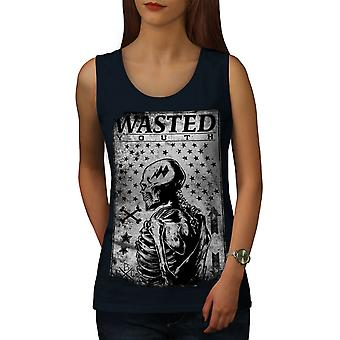 Wasted Skeleton Skull Women NavyTank Top | Wellcoda