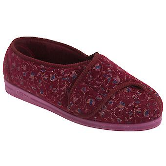 Comfylux Womens/Ladies Helen Floral Superwide Slippers