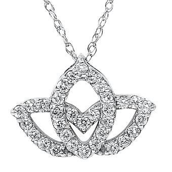 3/8ct Diamond Lotus Flower Pendant Necklace 14K White Gold