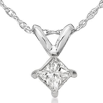 1/2ct Princess Cut Real Diamond Solitaire Pendant Necklace 14k White Gold New
