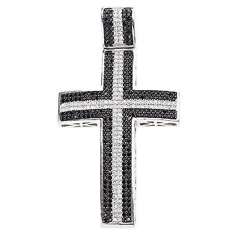 925 iskallt ut sterling silver cross - stor svart