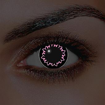 Jag-Glow rosa fjäril kontaktlinser (par)
