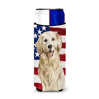 Patriotische USA Golden Retriever Michelob Ultra Hugger für schlanke Dosen