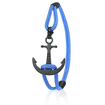 Pulseras de maritimes patrón ancla correa nylon en azul con un ancla negra 6928