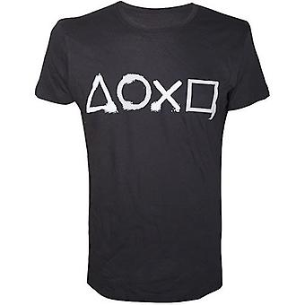 Sony Playstation Spray Painted Buttons Mens T-Shirt Small Black TS240003SNY-S