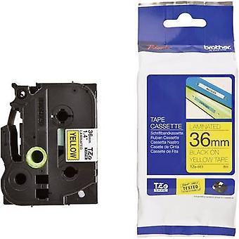 Merking tape bror TZe, TZ TZe-661 Tape farge: gul skrift farge: svart 36 mm 8 m