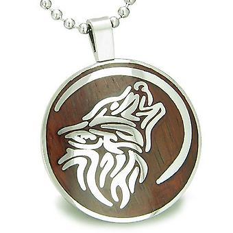 Wolf und Mond magische Positive Schutz Holz treibt Amulett Kreis Anhänger Halskette