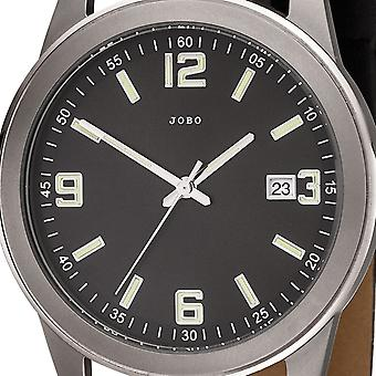 JOBO men's wristwatch quartz analog titanium leather strap black mens watch with date