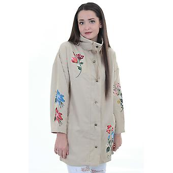 Ladies Long Sleeve Canvas Floral Embroidered Parka Lightweight Jacket Coat