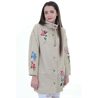 Damen Long Sleeve Canvas Floral bestickten Parka leichte Jacke Mantel