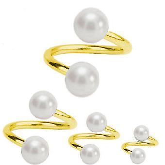 Skręt spirala Piercing złoto platerowany tytan 1, 2mm, białe perły | Średnica 6-12 mm