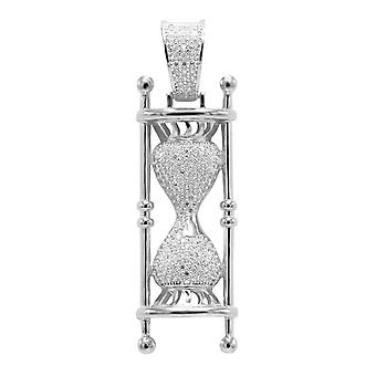 925 sterling silver micro pave pendants - HOURGLASS
