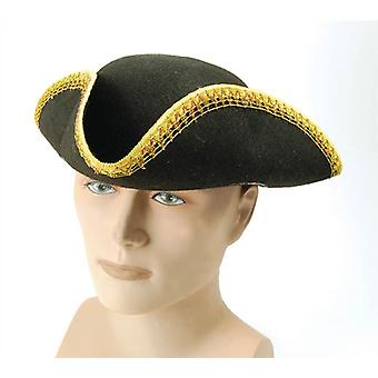 Bnov Tricorn Hat + Gold Trim