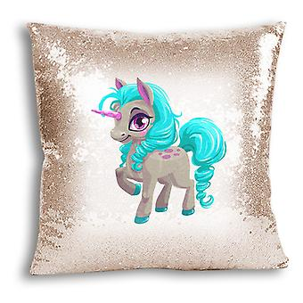 i-Tronixs - Unicorn Printed Design Champagne Sequin Cushion / Pillow Cover with Inserted Pillow for Home Decor - 17