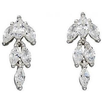 Delar Silver Cubic Zirconia Marquise örhängen - Silver